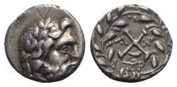 Ancient Coins - Achaia, Achaian League. Antigoneia (Mantinea), c. 188-180 BC. AR Triobol or Hemidrachm