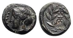 Ancient Coins - Sicily, Himera, c. 420-407 BC. Æ Hemilitron. R/ Six pellets within wreath.