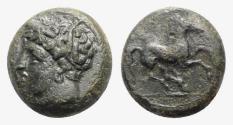 Ancient Coins - Sicily, Carthaginian Domain, c. 375-350 BC. Æ