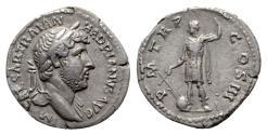Ancient Coins - Hadrian (117-138). AR Denarius - R/ Emperor with rudder and globe