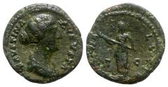 Ancient Coins - Faustina Junior (Augusta, 147-175). Æ As - Rome - R/ Diana
