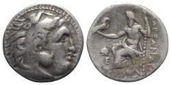 Ancient Coins - Kings of Thrace, Lysimachos (305-281 BC). AR Drachm. In the name and types of Alexander III of Macedon. Magnesia ad Maeandrum, c. 301/0-300/299 BC.