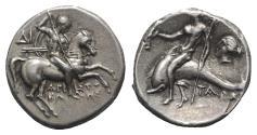 Ancient Coins - ITALY, CALABRIA, Tarentum. Circa 272-240 BC. AR Nomos. Aristokles and Di-, magistrates.