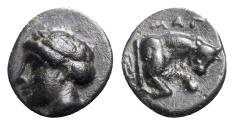 Ancient Coins - Ionia, Magnesia ad Maeandrum, c. 400-350 BC. Æ - Apollo / Bull