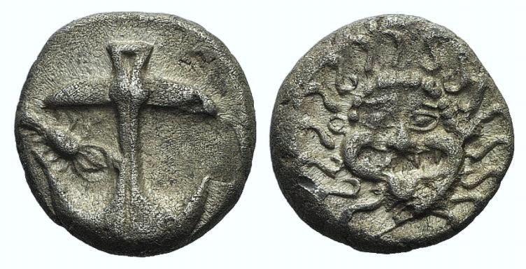 Ancient Coins - Thrace, Apollonia Pontika, late 5th-4th centuries BC. AR Drachm. Facing gorgoneion. R/ Anchor