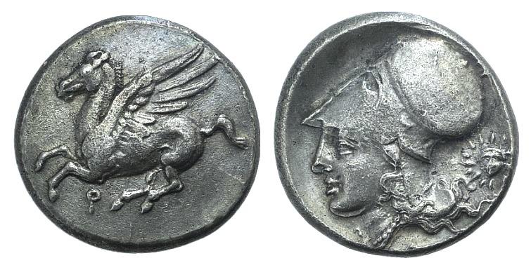 Ancient Coins - Corinthia, Corinth AR Stater. Corinthia, Corinth AR Stater. Circa 360-340 BC. Head of radiate Helios
