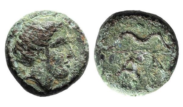 Ancient Coins - Arkadia, Alea, late 4th-3rd century BC. Æ Chalkous. R/ Bow. Rare