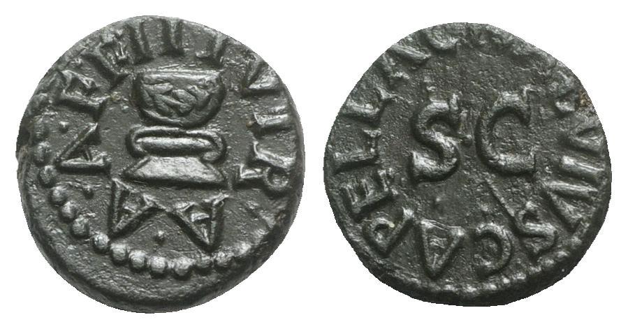Ancient Coins - Augustus (27 BC-14 AD). Æ Quadrans. Rome; C. Naevius Capella, moneyer, 4 BC.