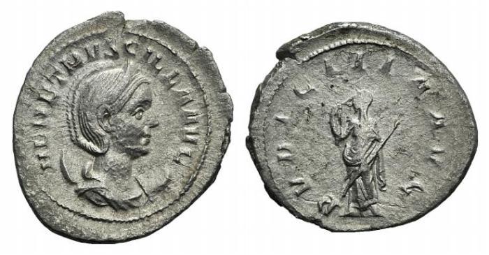 Ancient Coins - HERENNIA ETRUSCILLA, wife of Trajan Decius. Augusta 249-251 AD. AR Antoninianus / Pudicitia