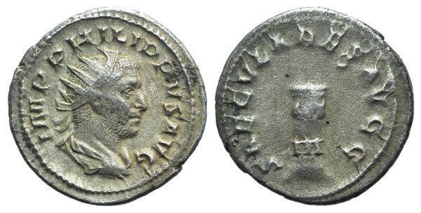 Ancient Coins - Philip I (244-249). AR Antoninianus. Commemorating the 1000th anniversary of Rome. Rome, 249. R/ Cippus i