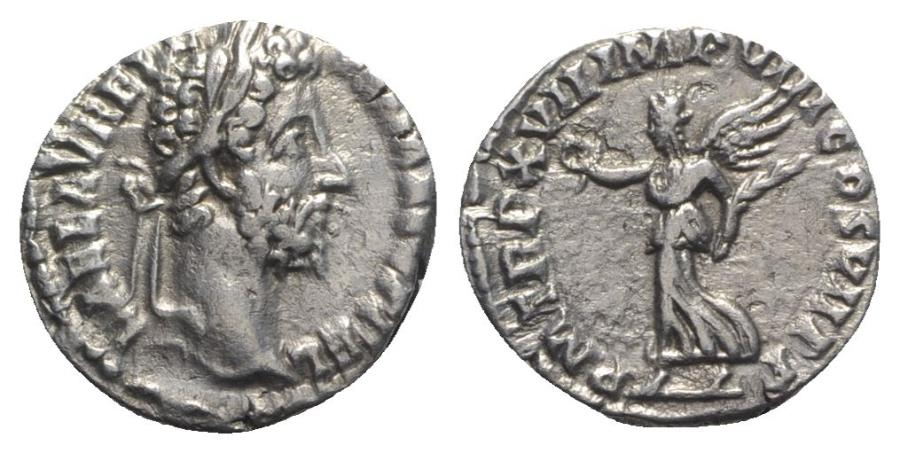 Ancient Coins - Commodus (177-192). AR Denarius - Rome - R/ Victory