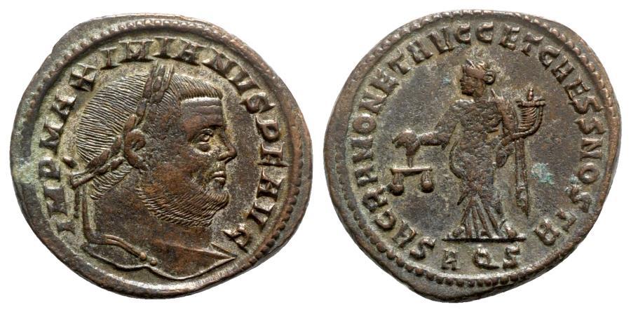 Ancient Coins - Maximianus (286-305). Æ Follis - Aquileia - R/ Moneta