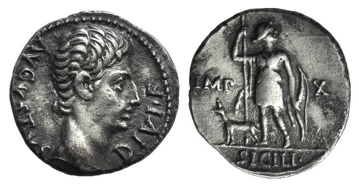 Ancient Coins - Augustus (27 BC-AD 14). AR Denarius. Lugdunum, 15 BC.  R/ Diana