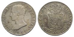 World Coins - Spain, Joseph Napoleon (1808-1814). AR 4 Reales 1811 AI, Madrid
