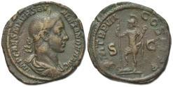 Ancient Coins - Severus Alexander (222-235). Æ Sestertius. Rome, AD 228.  R/  VIRTUS