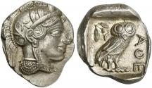 Ancient Coins - Attica, Athens, AR Tetradrachm, after 449 BC R/ OWL EXTREMELY FINE