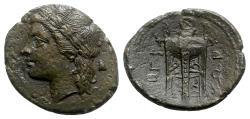 Ancient Coins - Bruttium, Rhegion, c. 260-215 BC. Æ - Apollo / Tripod