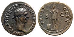 Ancient Coins - Trajan (98-117). Æ As - Rome - R/ Pietas