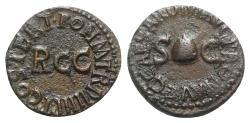 Ancient Coins - Gaius (Caligula, 37-41). Æ Quadrans. Rome, 40-1. Pileus  R/ Large RCC