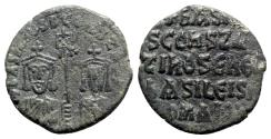 Ancient Coins - Basil I with Constantine (867-886). Æ 40 Nummi - Constantinople