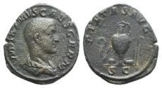 Ancient Coins - Maximus (Caesar, 235/6-238). Æ Sestertius Rome, 236-238. R/ Emblems of the pontificate: lituus, secespita, patera, capis, simpulum, and aspergillum