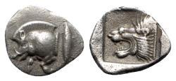 Ancient Coins - Mysia, Kyzikos, c. 450-400 BC. AR Diobol - Boar / Lion