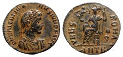 Ancient Coins - Valentinian II (375-392). Æ - Antioch - R/ Roma seated