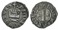 Ancient Coins - CRUSADERS. Athens, Gui II de La Roche (1287-1308). BI Denier. Thebes.