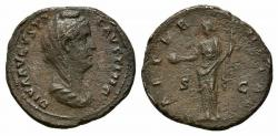 Ancient Coins - Diva Faustina Senior (died 140/1). Æ As. Rome.  R/ Aeternitas