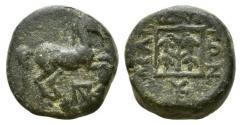 Ancient Coins - Thrace, Maroneia, c. 398/7-348/7 BC. Æ 13mm. Horse R/ Grape