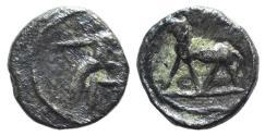 Ancient Coins - Asia Minor, Uncertain, c. 5th century BC. AR Trihemitartemorion. Lion R/ Zeus  UNPUBLISHED