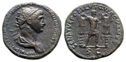 Ancient Coins - Trajan (98-117). Æ Dupondius - Rome - R/ Emperor with trophies