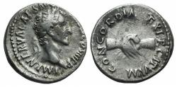 Ancient Coins - NERVA. 96-98 AD. AR Denarius. Struck 96 R/ CLAPSED HANDS