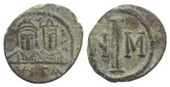 Ancient Coins - Justin II, with Sophia. 565-578. Æ Decanummium. Carthage mint. Struck circa 572/3-578