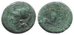Ancient Coins - ITALY. CAMPANIA, Cales. Circa 265-240 BC. Æ 18mm. Head of Athena / Cock