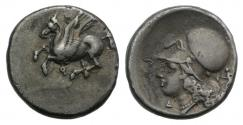 Ancient Coins - Corinthia, Corinth AR Stater . Circa 375-300 BC. Lovely old cabinet tone