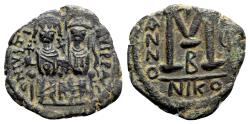 Ancient Coins - Justin II and Sophia (565-578). Æ 40 Nummi - Nicomedia, year 5