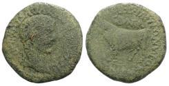 Ancient Coins - Tiberius (14-37). Spain, Clunia. Æ As. Cnaeus Pompeius, M. Avus, T. Antonius, and M. Julius Seranus, quattorviri.  R/ BULL