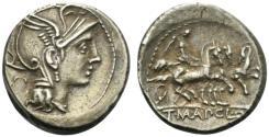 Ancient Coins - ROME REPUBLIC Appius Claudius Pulcher, T. Manlius Mancius and Q. Urbinius, Rome, 111-110 BC. AR Denarius EXTREMELY FINE