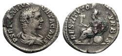 Ancient Coins - Geta (Caesar, 198-209). AR Denarius - Rome - R/ Roma seated - RARE