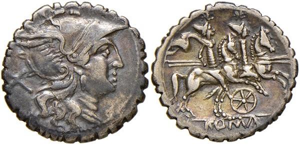 Ancient Coins - Rome Republic Anonymous, wheel series. 209-208 BC. AR Serrate Denarius. Mint in Sicily.