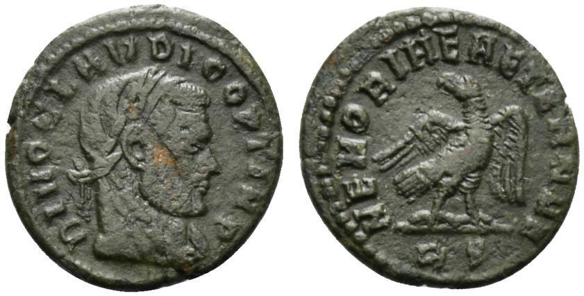 Ancient Coins - Divus Claudius II (died AD 270). Æ Half Follis. Rome, 317-8.  R/ EAGLE