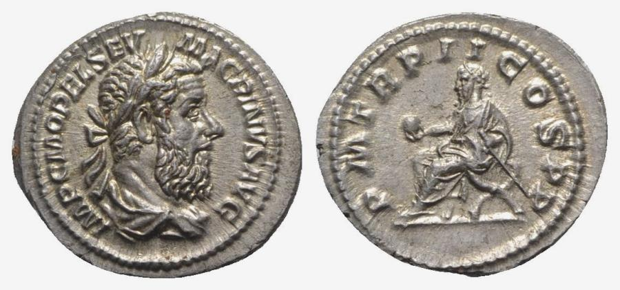 Ancient Coins - Macrinus (217-218). AR Denarius. Rome, 217-8. R/ Macrinus seated. Bold portrait, EXTREMELY FINE
