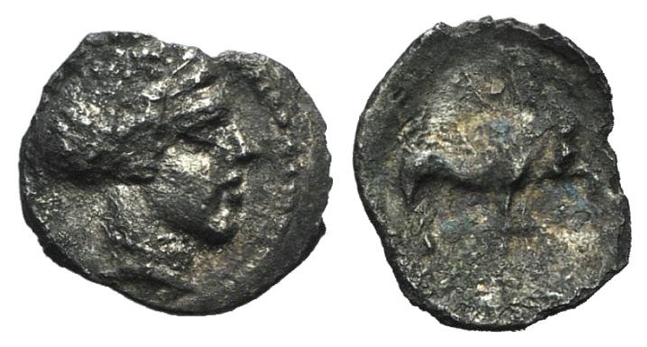 Ancient Coins - Sicily, Abakainon, c. 420-400 BC. AR Hemilitron.  R/ Boar