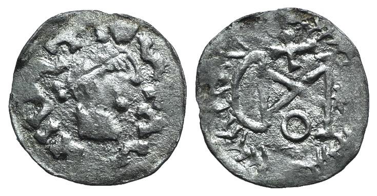 World Coins - Gepids, Uncertain king, 454-552. AR 1/4 Siliqua. Sirmium?. R/ Monogram of Theodoric