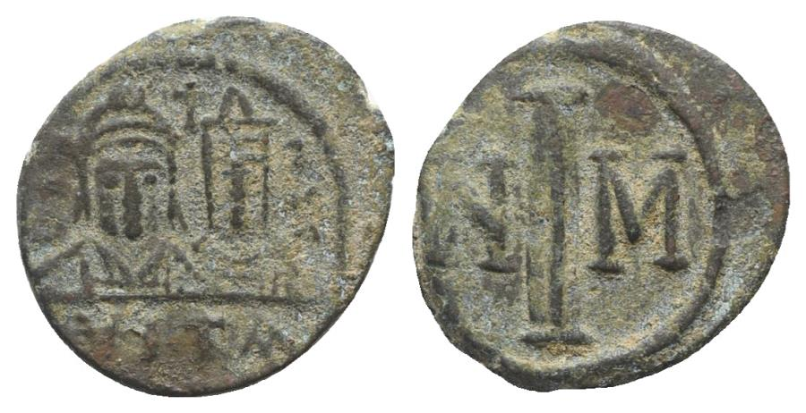 Ancient Coins - Justin II, with Sophia. 565-578. Æ Decanummium. Carthage mint. Struck circa 572/3-578