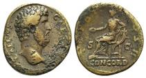 Ancient Coins - AELIUS, Caesar. 136-138 AD. Æ Sestertius. Struck 137 AD. R/ CONCORDIA