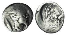 Ancient Coins - ROME REPUBLIC L. Hostilius Saserna, Rome, 48 BC. AR Denarius. Head of captive Gallic warrior (Vercingetorix?) RARE