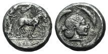 Ancient Coins - Sicily, Syracuse, c. 485-466 BC. AR Tetradrachm, c. 480-470 BC.