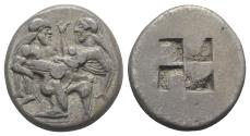 Ancient Coins - Islands of Thrace, Thasos, c. 480-463 BC. AR Stater. Satyr advancing r., carrying off protesting nymph.